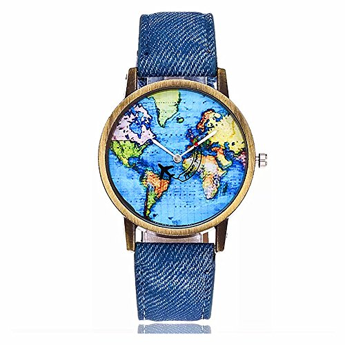 MINILUJIA Travel The World Watch Cool Unique Airplane Moving Flying World Map Watch with Blue Jeans Color Watch Band
