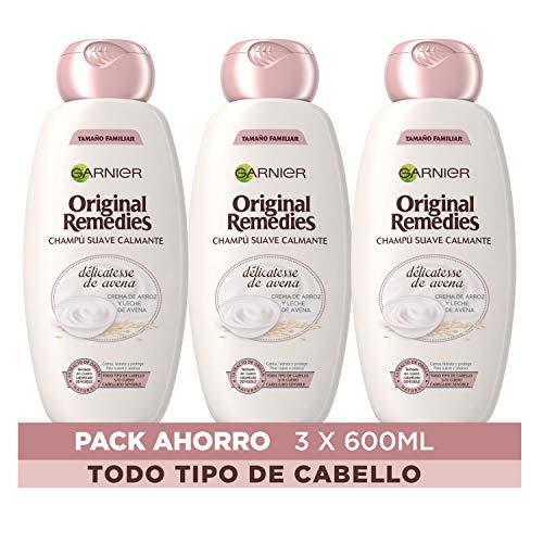 Garnier Original Remedies Delicatesse de Avena Champú cuero cabelludo sensible - Pack de 3 x 600 ml