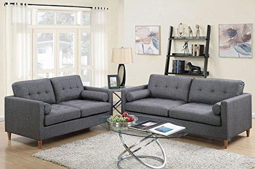 Poundex f6538 Bobkona Malvern Juego de sofá y sofá de Dos plazas, Azul, Gris