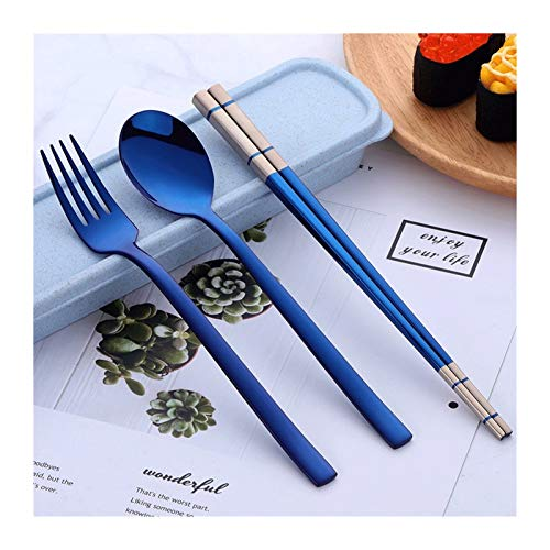 Cucharilla 3 PCS 304 de acero inoxidable al aire libre Juego de cubiertos Tenedor Cuchara palillos / portátil de viaje juego de cubiertos con paja de trigo estuche de transporte Cuchara de arroz