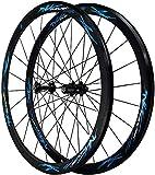 QQJK Roue de vélo de route 700 C, frein V, jante en alliage à double paroi 40 mm, jante de vélo...
