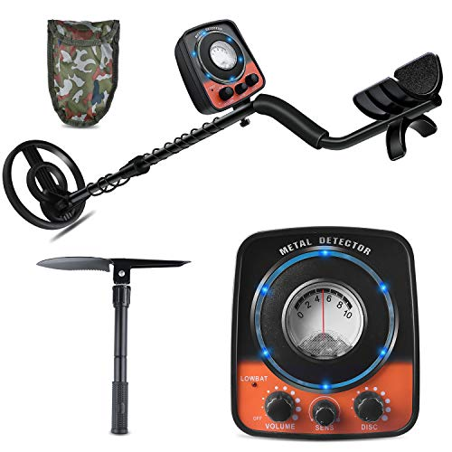UNIROI Metal Detector Adjustable Metal Finder with Waterproof Search Coil for Discrimination and All Metal Detecting, High Accuracy Gold Digger with Camping Shovel Metal Detectors to Treasure (Black2) Detectors Metal
