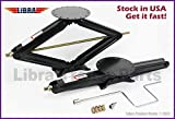 LIBRA Set of 2 5000 lb 30' RV Trailer Stabilizer Leveling Scissor Jacks w/Handle and Socket - 26021 …