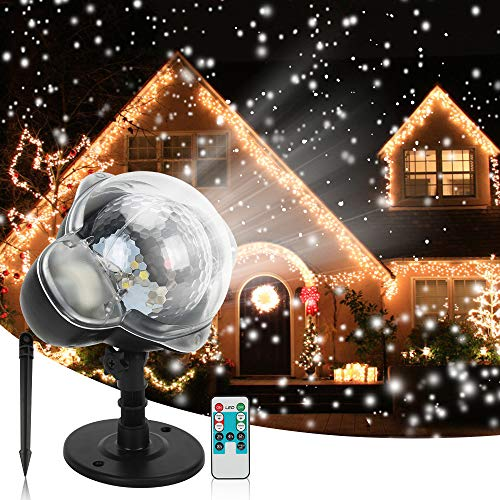 Christmas Snowfall Projector Lights, Syslux Indoor Outdoor Holiday Lights with Remote Control White Snow for Halloween Xmas Party Wedding Garden Landscape Decoration(Snow Spots)