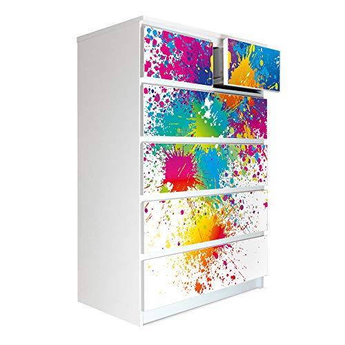 banjado Möbelaufkleber passend für IKEA Malm Kommode 6 Schubladen | Selbstklebende Möbelfolie | Sticker Tattoo perfekt für Wohnzimmer und Kinderzimmer | Klebefolie Motiv Farbspritzer