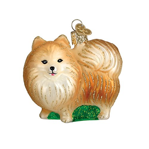 Old World Christmas Glass Blown Ornament with S-Hook and Gift Box, Dog Collection (Pomeranian [Standing])