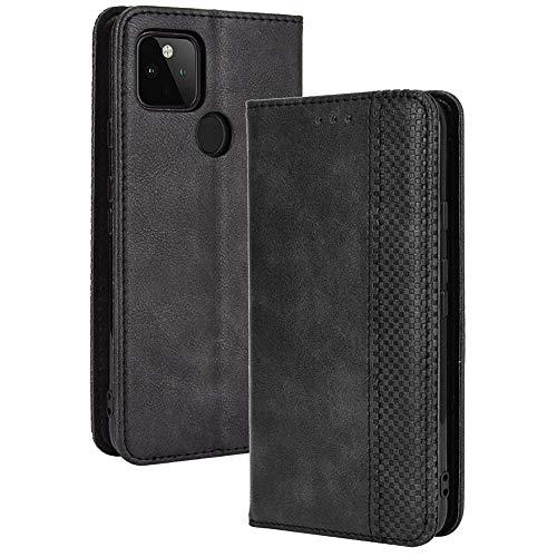 TANYO Leder Folio Hülle für Google Pixel 4A 5G (Not for 4G Version), Premium Flip Wallet Tasche mit Kartensteckplätzen, PU/TPU Lederhülle Handyhülle Schutzhülle - Schwarz