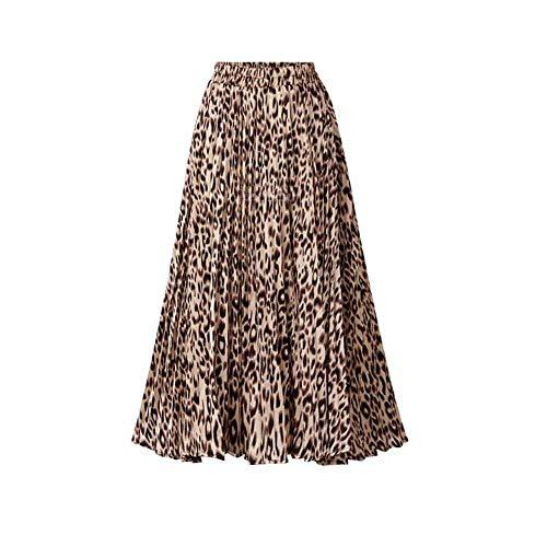 Plus Size Leopardenmuster Röcke Damen New Spring Summer A Linie Plissee Langrock Lässig Maxi Röcke mit hoher Taille weibliche Streetwear