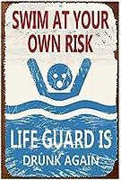 壁挂け看板壁装飾ポスターアートマークあなた自身のリスクで泳ぐ水泳カフェバーバービールアンティークマーク11.81×7.87インチ