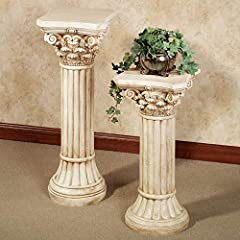Bring a touch of formal, classical architecture into your home with the Corinthian Indoor/Outdoor Display Column Pedestal. Resin with an ivory finish and beige wash, the pillar has a decorative capital with acanthus leaves and scrolls topped by a med...