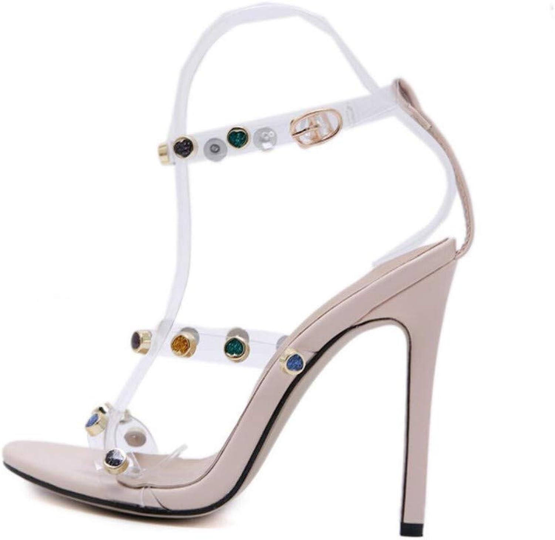 JQfashion Women's High Heels Pointed Slim-Heeled Sandals color Rivets Diamond Transparent Film Roman shoes