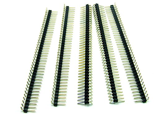 Just-Honest Pezzi 5 x CONNETTORE Strip Line Maschio/Pin Strip 40 Poli/Pin 2.54mm CUTABLE a 90° / Right Angle Arduino Style #A355