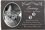 Pokal Center Westerheider Katzengrabstein mit eigenem Foto und Katzenpfoten, Gedenksteine für...