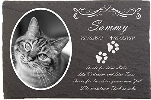 Pokal Center Westerheider Katzengrabstein mit eigenem Foto und Katzenpfoten, Gedenksteine für Katzen mit personalisierter Gravur Katzen, Gedenksteine aus Naturschiefer 20x30 cm