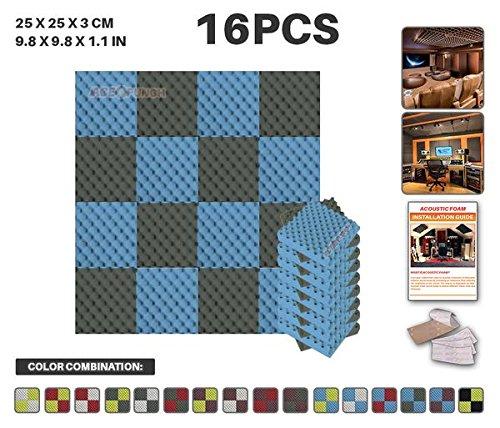 Acepunch 16 Paquet 2 Combinaison de Couleurs Bleu ET Gris Alveolee Mousse Acoustique Panneau Insonorisation Sonorisation Absorbeur Traitement avec Ruban Adhesif 25 x 25 x 3 cm AP1052