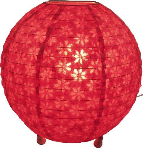 Guru-Shop Lámpara de pie Redonda de Papel de Arroz Corona Ø 35 cm - Rojo, PapeldeLokta, Lámparas de Techo Asiáticas Lámparas de Papel Tela