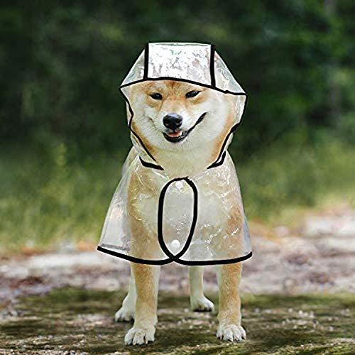 WELLXUNK Chubasquero para Perros,Chubasquero para Perros con Capucha,Impermeable Perros,Mascotas Impermeables,Poncho Impermeable Perros,Chubasquero para Perros Pequeños,Medianos y Grandes (L, Negro)
