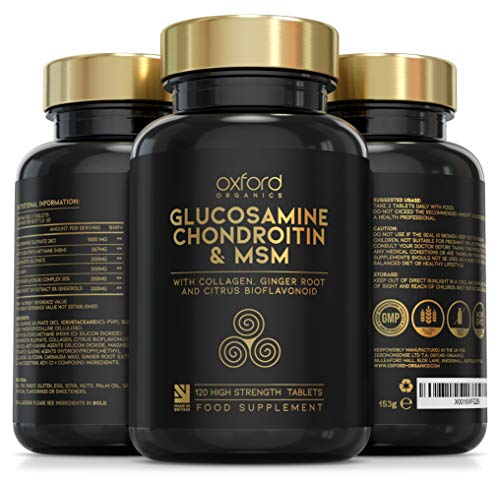 Glucosamine and Chondroitin MSM Tablets High Strength | 120 Glucosamine Sulphate Tablets - with Collagen, Citrus Bioflavonoid and Ginger Root Extract | Glucosamine Tablets Men and Women Made in the UK