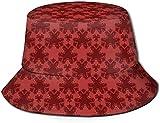 Sombrero unisex de damasco rojo con diseño de cubo y sombrero de pescador