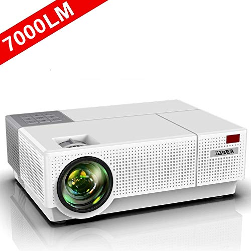 Proyector, YABER 7000 Lúmenes Proyector Full HD 1920x1080P Nativo Soporta 4K Corrección Trapezoidal 4D de ±50° Proyector Cine en Casa Sonido Dolby 90000 Horas Contraste 8000: 1 con PS4/PC/TV Box