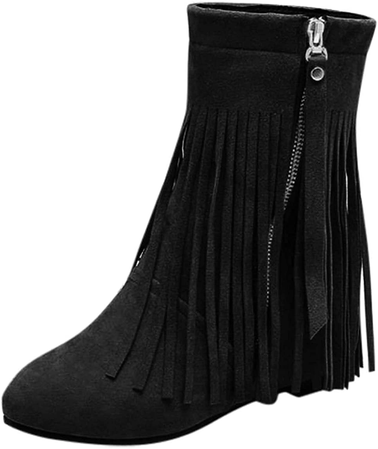 Classic Fringe Mid Women Boots Pull On Flat Winter Shoes Women's