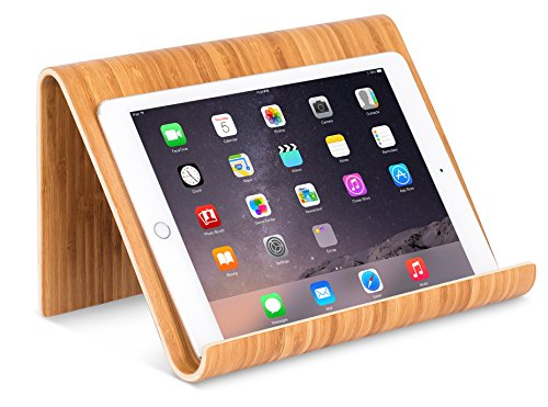 Sofia + Sam Bamboo Tablet Holder and Stand - Natural Wood - Works with iPad, Surface etc. - Cookbook Book E-Readers Smartphones - Kitchen Table Top - Wire Organizer