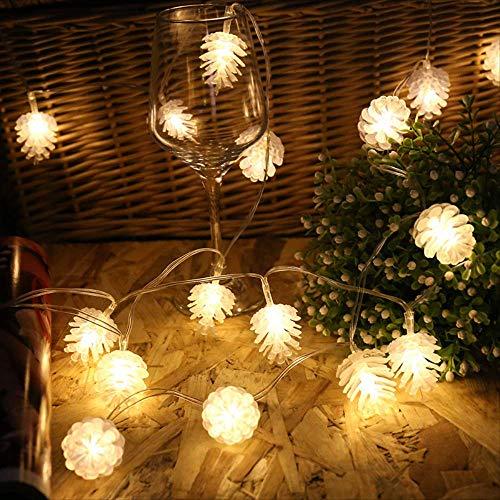 CFLFDC Kandelaar, 20 LED's, voor fruit, snoer, Kerstmis, decoratie, hotel, klein, kleurrijk, klein, kleurrijk licht, string met 20 LED's, Pine Fruit Lights String Kerstmis, decoratie, hotel, klein, kleurrijk, koud wit, 3 m, 20 licht (batterijbox knipperend met flits)