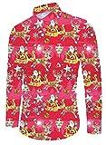 Funnycokid Xmas Hemd Herren Drucken Flamingo Langarm Weihnachten Button Down Herren Lässig Strand Ugly Christmas Shirt Rot