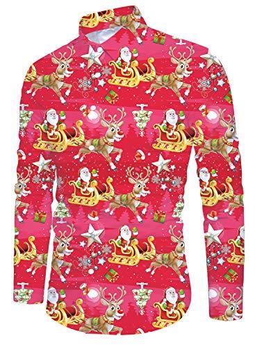 Funnycokid Männer Ugly Christmas Shirt Drucken Flamingo Langarm Weihnachten Button Down Party Wear Man Xmas Hemd Rot