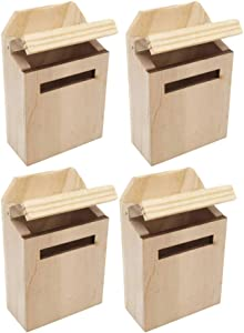 BESPORTBLE 4pcs Dollhouse Miniature Flip Mailbox 1:12 Model Mini Wooden Furniture Accessories DIY Crafts Playset for Kids DIY Fairy Garden