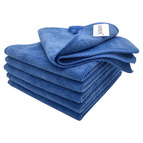 """Microfiber Cleaning Cloth Lint-Free Streak-Free Towels Soft Highly Absorbent Reusable Wash Cloths for House Kitchen Boat Car Window Multipurpose Cleaner (12""""x12"""") Blue-6 Pack"""