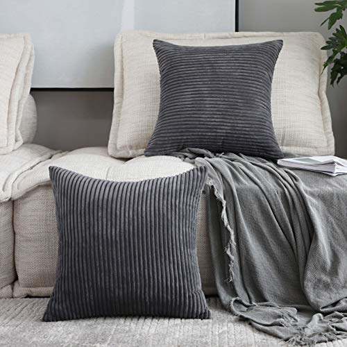 Home Brilliant 2 Pack Decoration Super Soft Striped Corduroy Decorative Euro Throw Pillow Sham Cushion Cover for Couch, 26x26 inch(66cm), Dark Grey