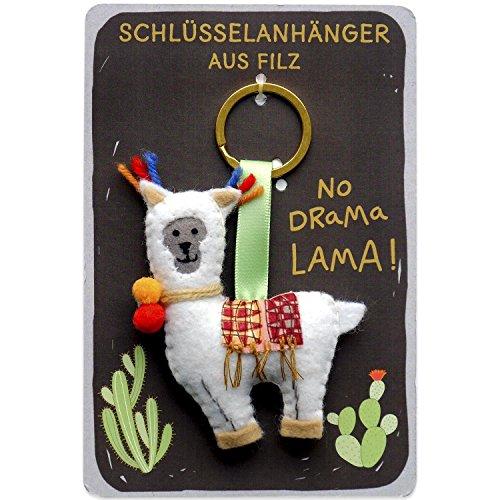 Happy Life 45548 Schlüssel-Anhänger mit Lama, auf Header-Karte mit Kaktus und Spruch No Drama Lama, Schlüssel-Ring mit Durchmesser 3 cm
