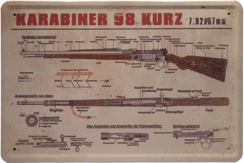 Karabiner 98 kurz Blechschild 20 x 30 cm Metallschild Blech 131