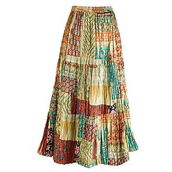 CATALOG CLASSICS Women s Patchwork Skirt - Cotton Boho Peasant Maxi Skirt Bottom - 2X