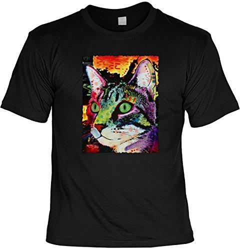 Außergewöhnliches T-Shirt mit kreativem Katzenmotiv in neon: Curiosity Cat