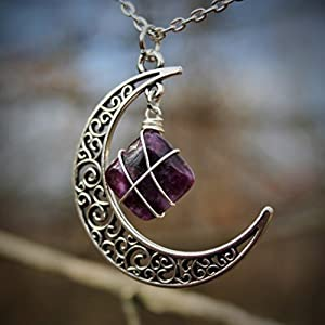 Purple Ethereal Lepidolite Necklace Wire Wrapped Cresent Moon Pendant Necklace