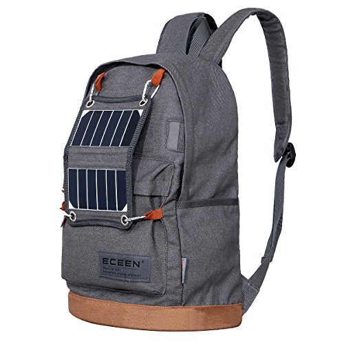 ECEEN Hiking Daypack Backpack with Solar Charger and LED Camping Light for Hiking, Blackouts,...
