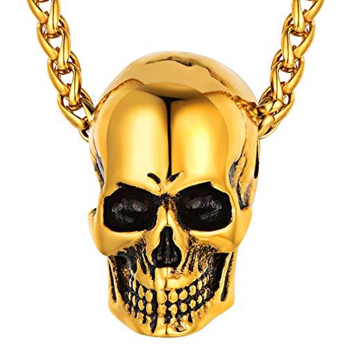 FaithHeart Colgante Cabeza Esquelético Chapado en Oro Amarillo 18K Co