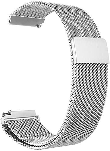 Niboow 20mm Correa Compatible con Samsung Galaxy Watch 4 40mm, Ajustable Correa, Magnética Pulsera Acero Inoxidabl, Para Samsung Galaxy Watch 42mm/Active 2 (40 mm/44 mm)/Samsung Gear Sport-Plata.