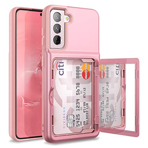 WeLoveCase for Samsung Galaxy S21 Wallet Case with Credit Card Holder & Hidden Mirror, Defender Protective Shockproof Heavy Duty Protection Phone Cover for Samsung Galaxy S21 5G, 6.2 inch Rose Gold