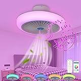 VOMI Fan Lámpara de Techo de Música Habitación Infantil con Altavoz Bluetooth y Control Remoto, APP 72W Ventilador de Techo con Iluminación LED Regulable Invisible, Luz de techo Cambio de Color RGB