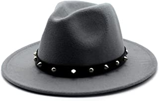 LiJuan Shen Fashion Women Men Wool Fedora Hat With Punk Rivet Outdoor Travel Church Casual Hat Wool Cloche Trilby Hat Size 56-58CM