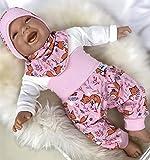 Baby Set 56 62 68 74 Hose, Mütze und Dreieckstuch, Erstausstattung, new born set Pferde,Mädchen Pumphose, rosa Fuchs