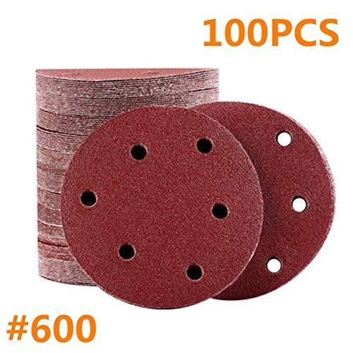 Great Deal! Xucus 100pcs 125mm 5 Hook Loop Sanding paper with 8 Hole Sand Pads Set 40Grit-2000Grit ...