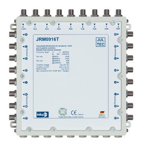 JULTEC JRM0916T 2 Satelliten Multischalter 9/16 für 16 Teilnehmer Receivergespeist ohne Strom/ Stromanschluss, Druckgussgehäuse, Neueste Generation