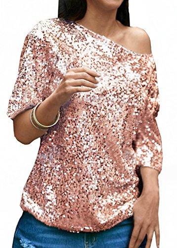 Monika Estivi Camicie Donna Fashion Spalla Obliqua Mezza Manica Bluse Camicia Casual Tinta Unita Paillettes Blouse Tops