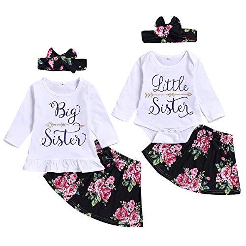 puseky bebé niñas pequeña Hermana Grande Trajes a Juego Camisa de Manga Larga Falda Floral Diadema Conjunto de Ropa, Talla 70
