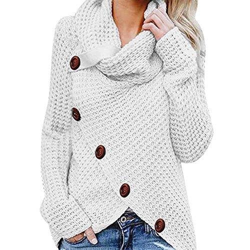 iHENGH Damen Herbst Winter Übergangs Warm Bequem Slim Lässig Stilvoll Frauen Langarm Solid Sweatshirt Pullover Tops Bluse Shirt (S, A Weiß)