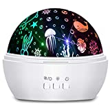 Night Light Projector Gift for Kids 8 Colors Rotating Baby Light Projector with Star and Ocean Theme for...